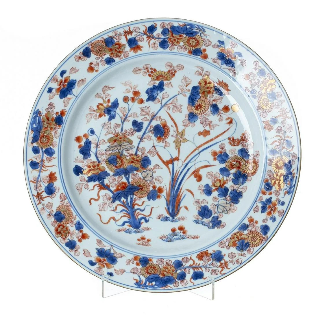 Large Imari plate in Chinese porcelain, Kangxi