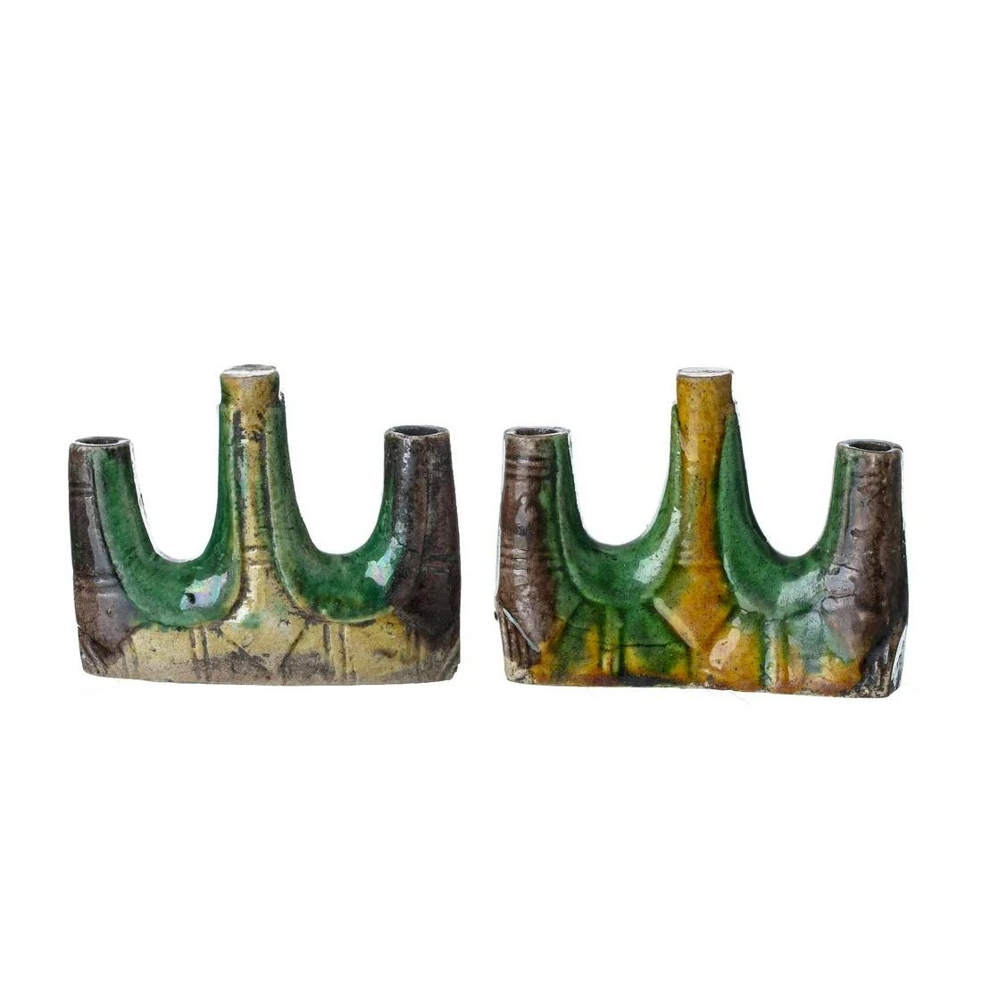 Chinese Sancai ceramic brush holder pair, Kangxi