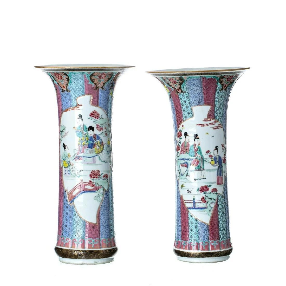 Pair of Chinese porcelain vases, Yongzheng