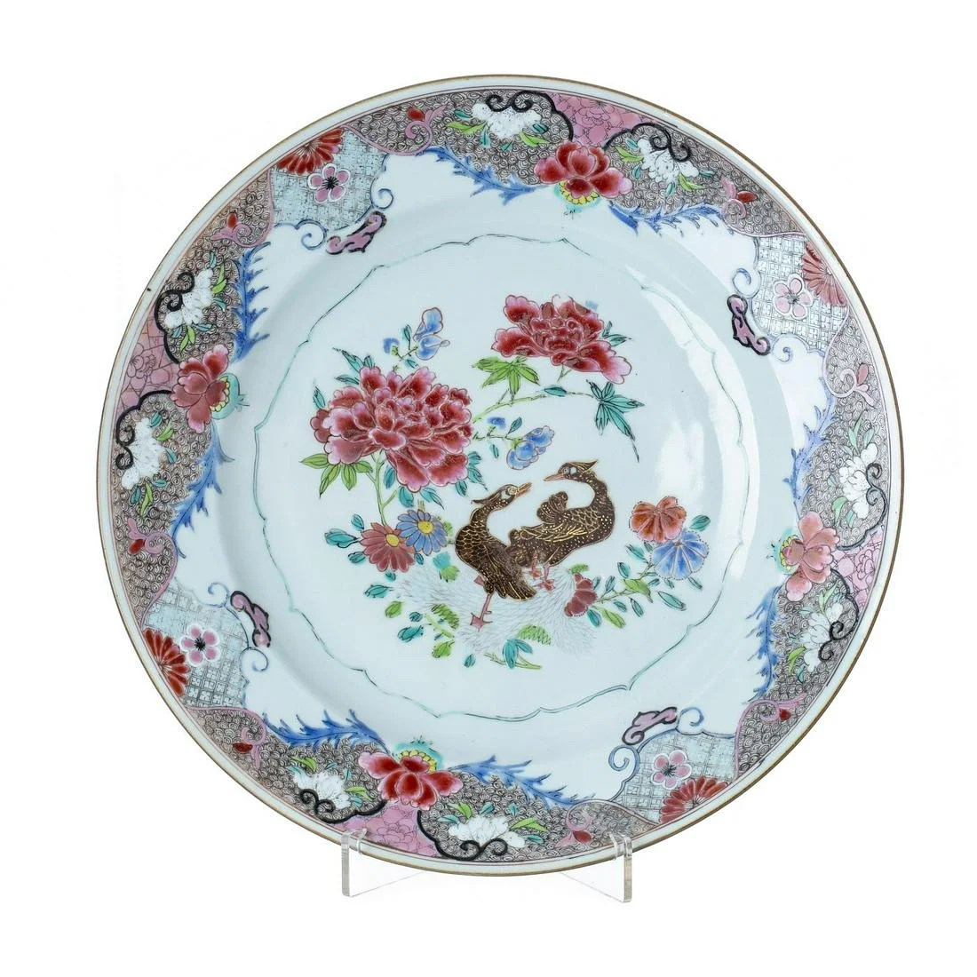 Large plate 'ducks' in Chinese porcelain, Yongzheng