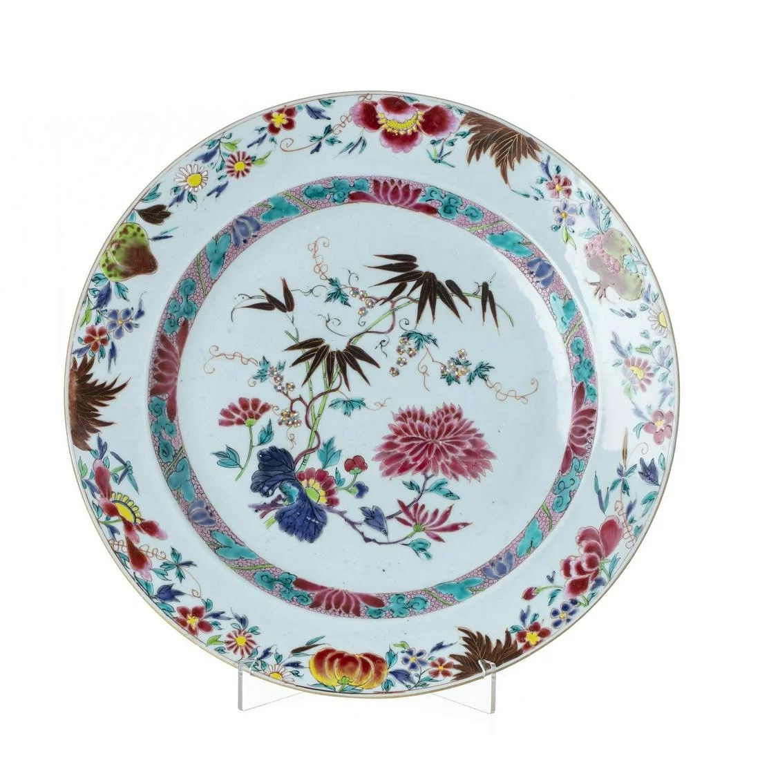 Large plate with flowers, Yongzheng