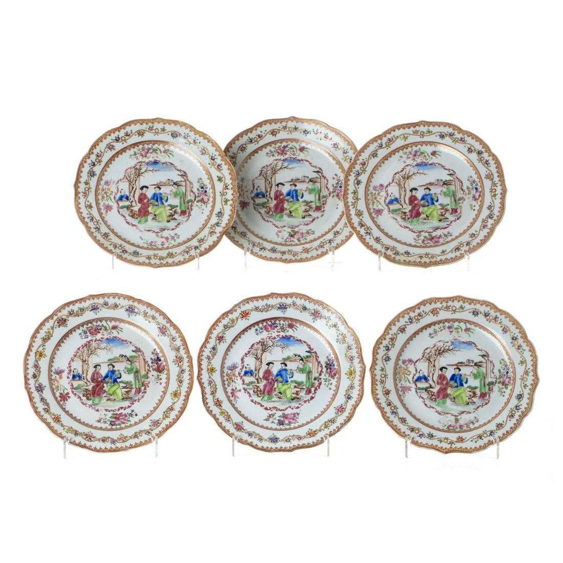 Six 'Mandarin' plates in Chinese porcelain, Qianlong