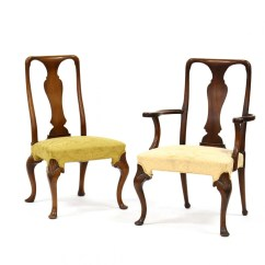 Hickory Chair Co Ez Clean High Pair Of Queen Anne Style Chairs