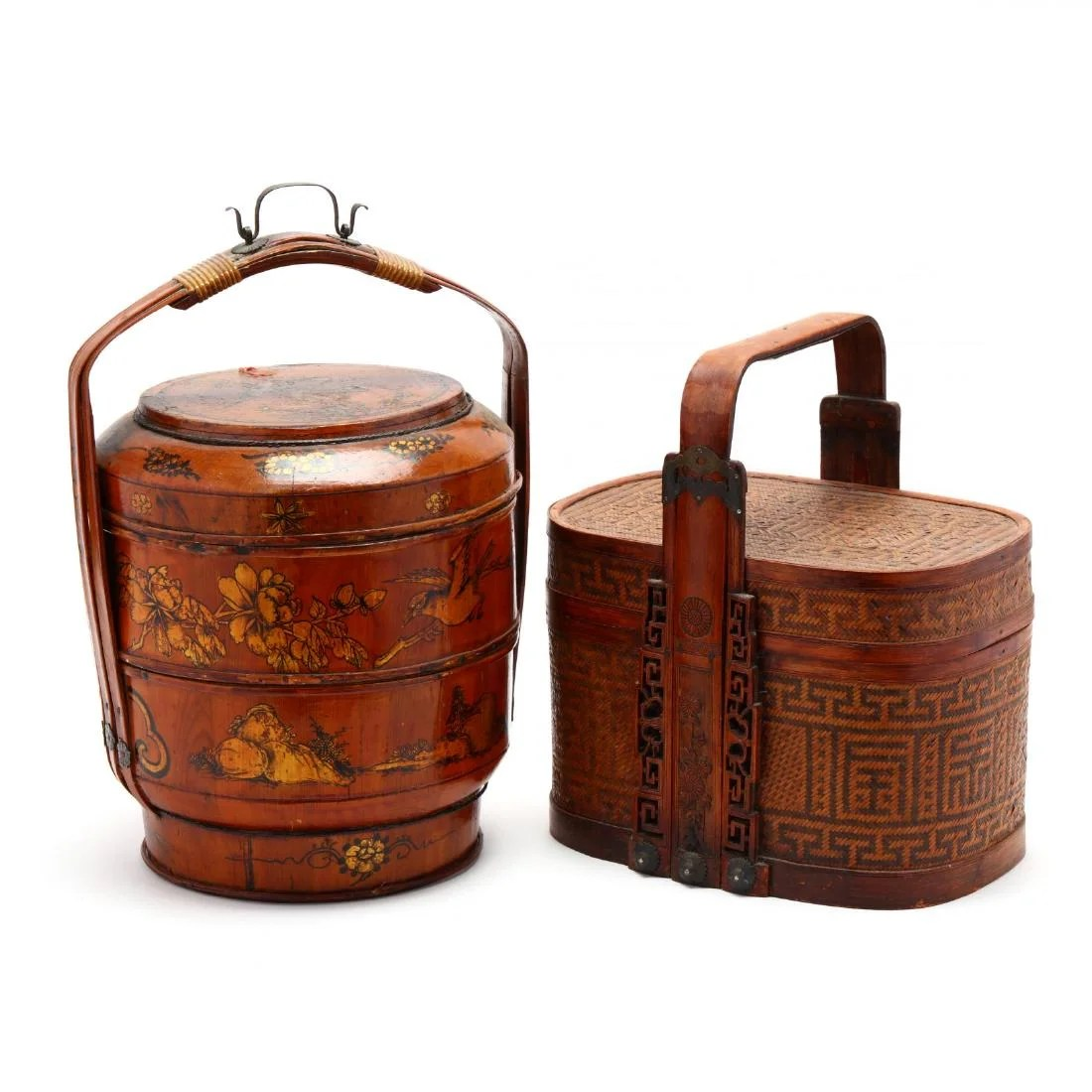 two antique chinese lidded