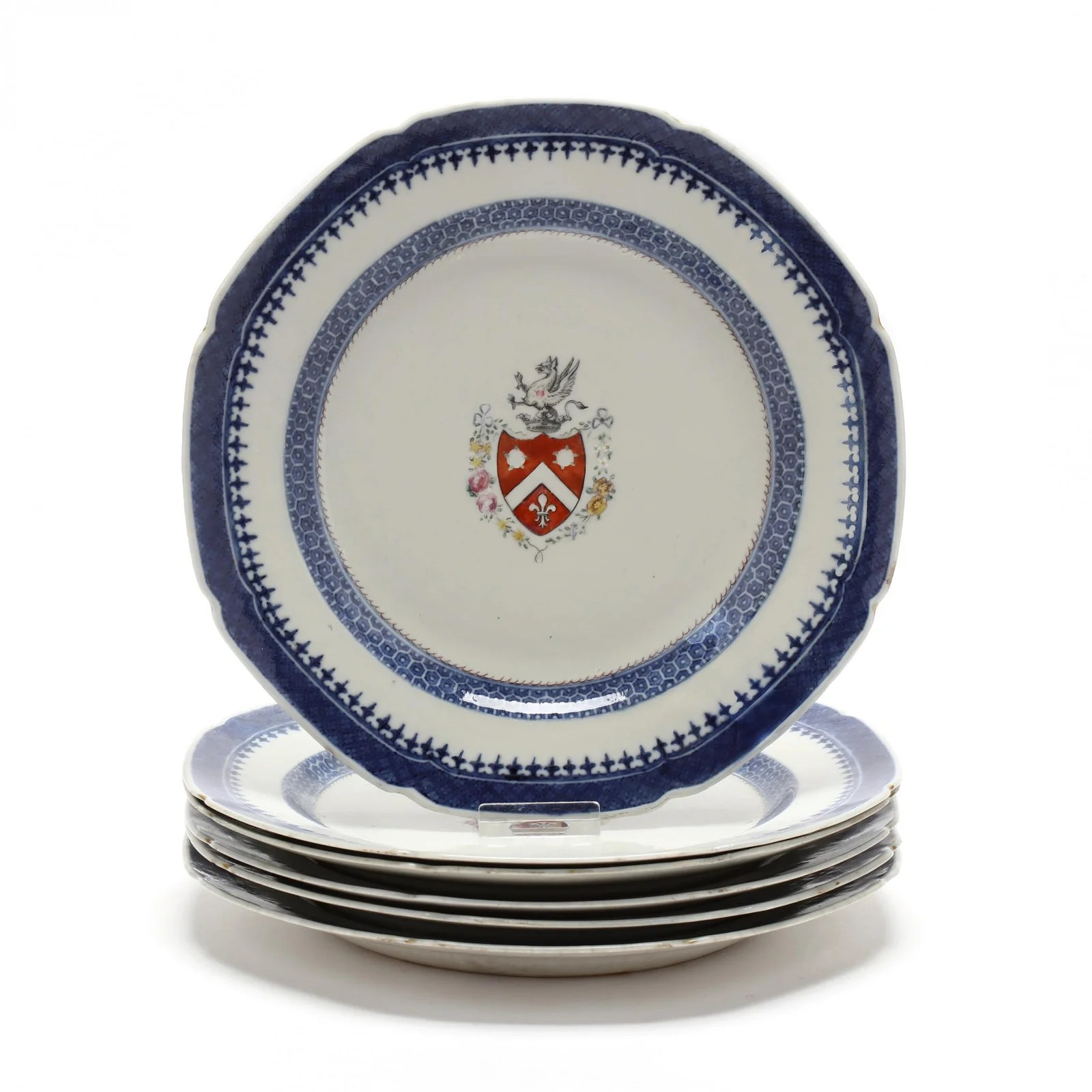 Six Antique Chinese Export Porcelain Armorial Plates
