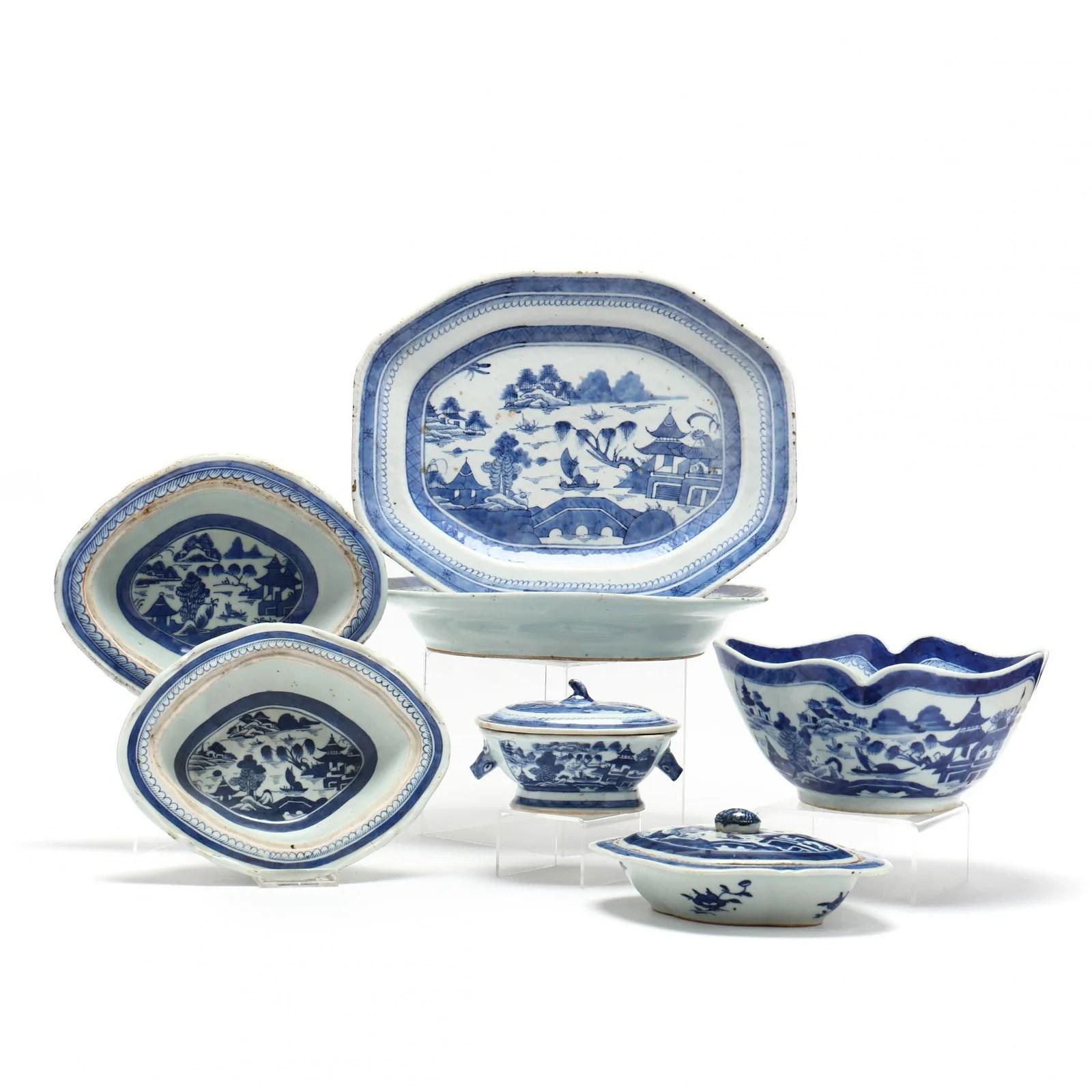 Seven Canton Export Porcelain Serving Pieces
