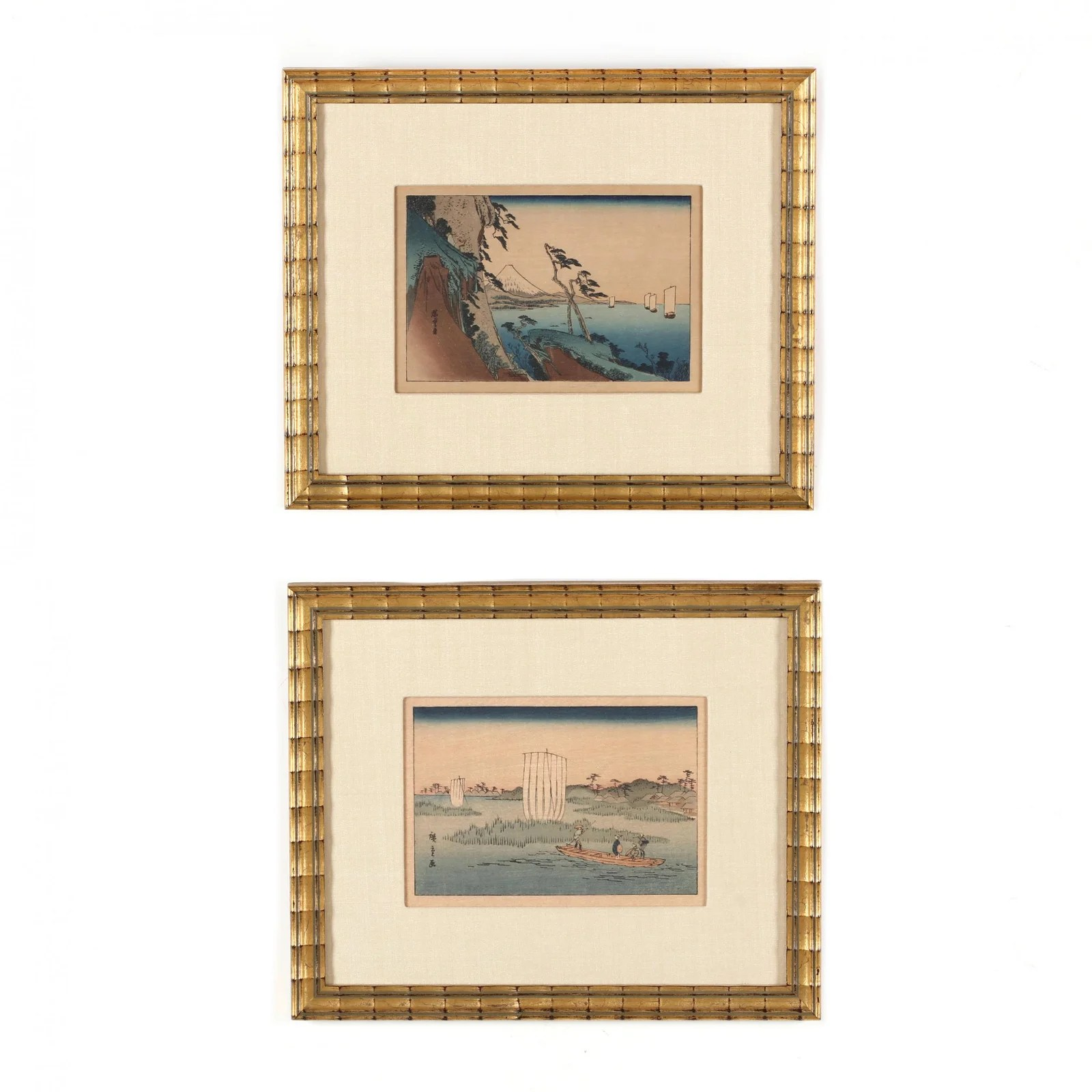 Two Small Framed Japanese Woodblock Prints