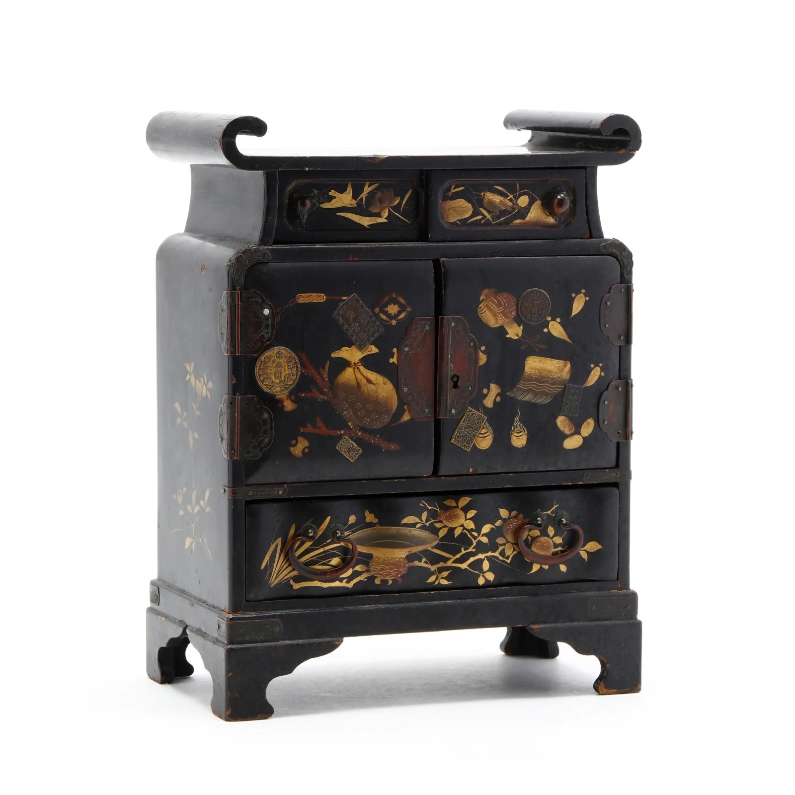 A Japanese Black Lacquered Table Chest