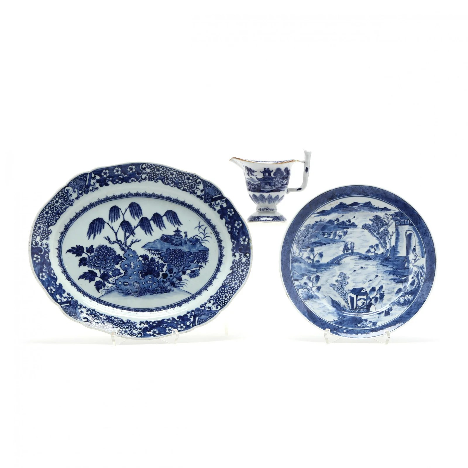 Three Chinese Export Porcelains, Blue and White Designs