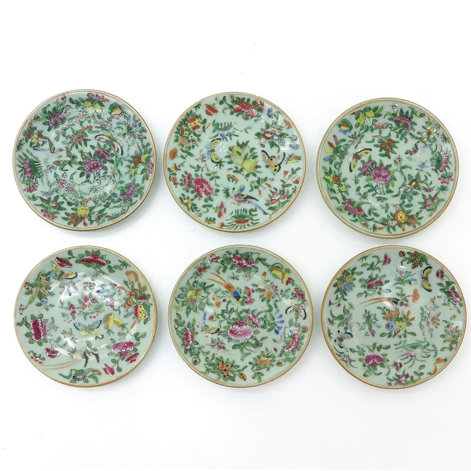 A Series of Six Cantonese Plates