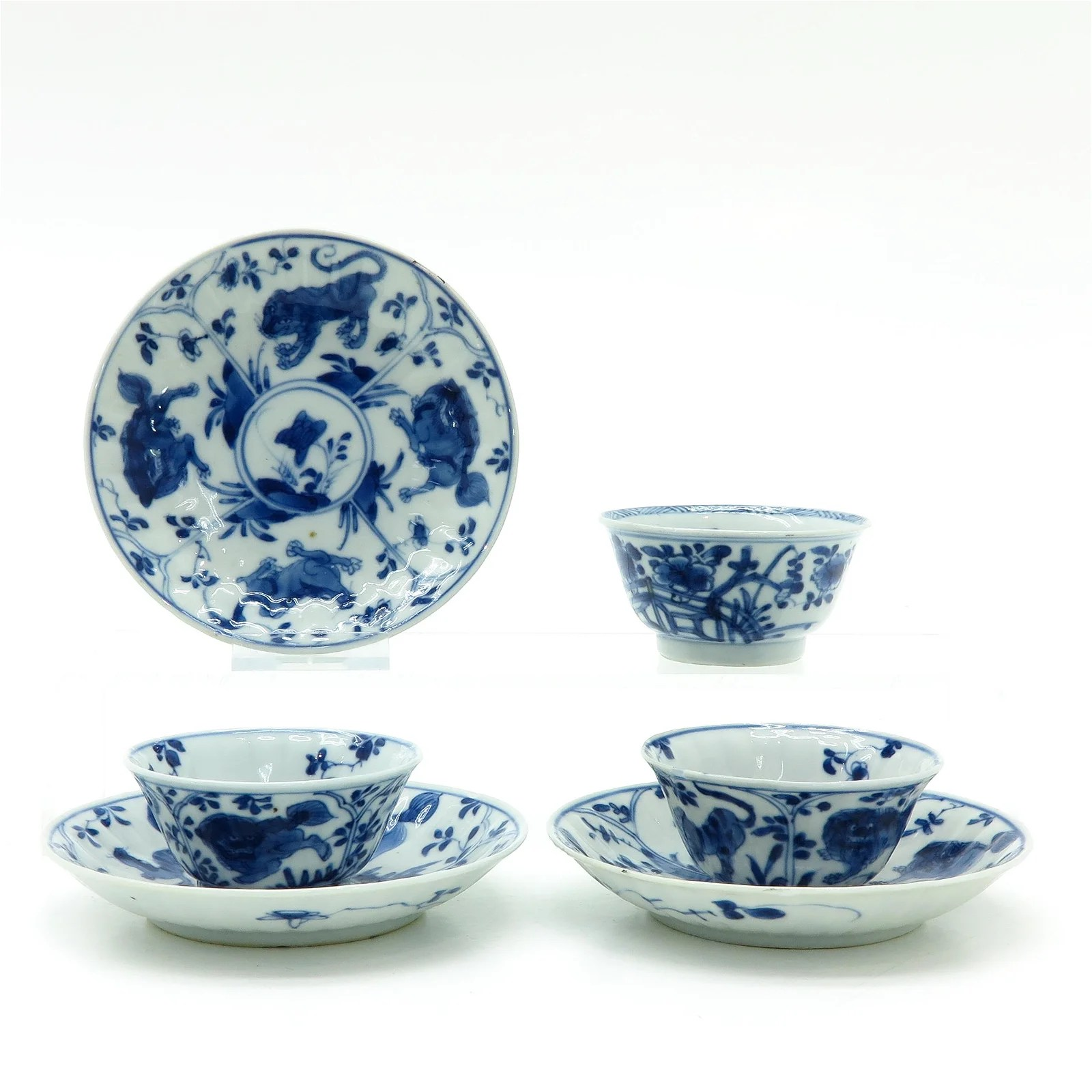 Three Chinese Cups and Saucers