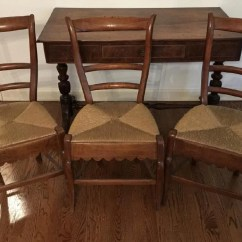 Rush Seat Chairs Black Wood Dining Chair Set Of Three Antique Carved