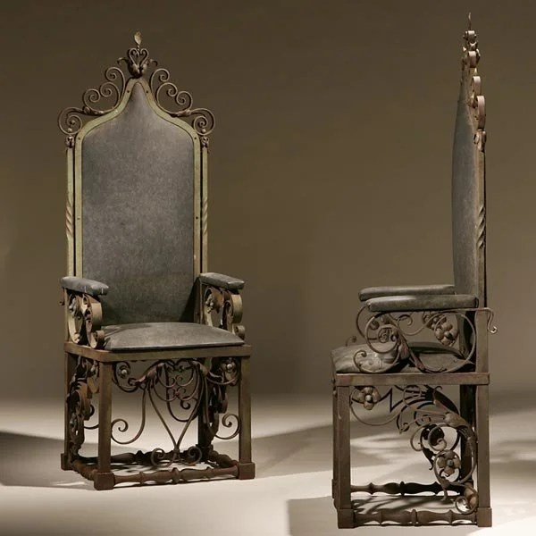 iron throne chair bedroom hanging cheap 2252 pair of baroque style wrought chairs