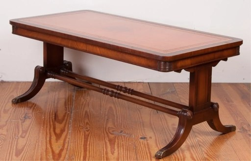 imperial mahogany leather top coffee table