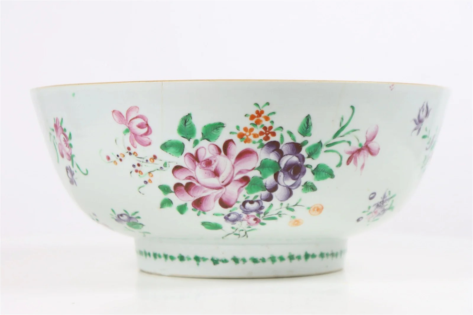 19th C Chinese Export Punch Bowl, Enameled