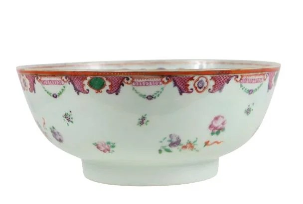19th C Chinese Export Punch Bowl, As Is