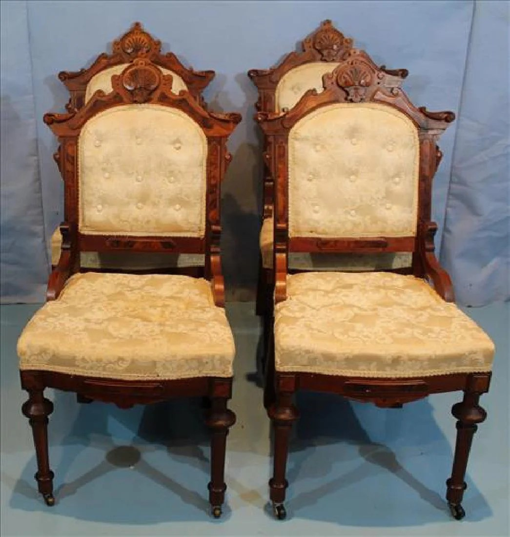 eastlake victorian parlor chairs accent and ottomans set of 4 walnut side