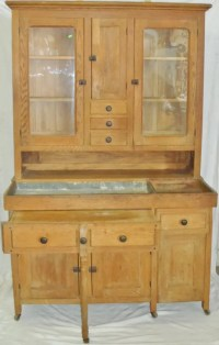 Oak Hoosier Bakers Cabinet And Dry Sink