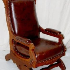 Antique Victorian Folding Rocking Chair Bride And Groom Chairs Walnut Platform Leather