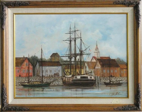 Oil Painting Americana George . Lee