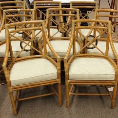 Bamboo Dining Chair Alite Mantis Lot Of 8 Mcguire Faux Chairs