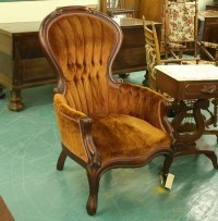1109: Victorian reproduction gentleman chair, mahogany,