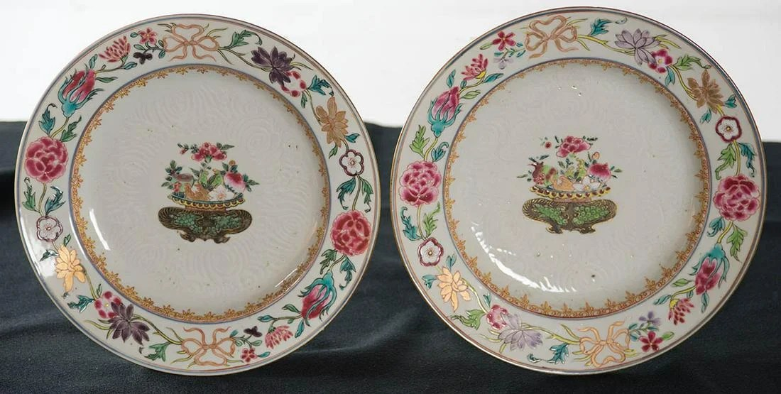 TWO CHINESE PLATESLeaf and floral decoration, with bowl