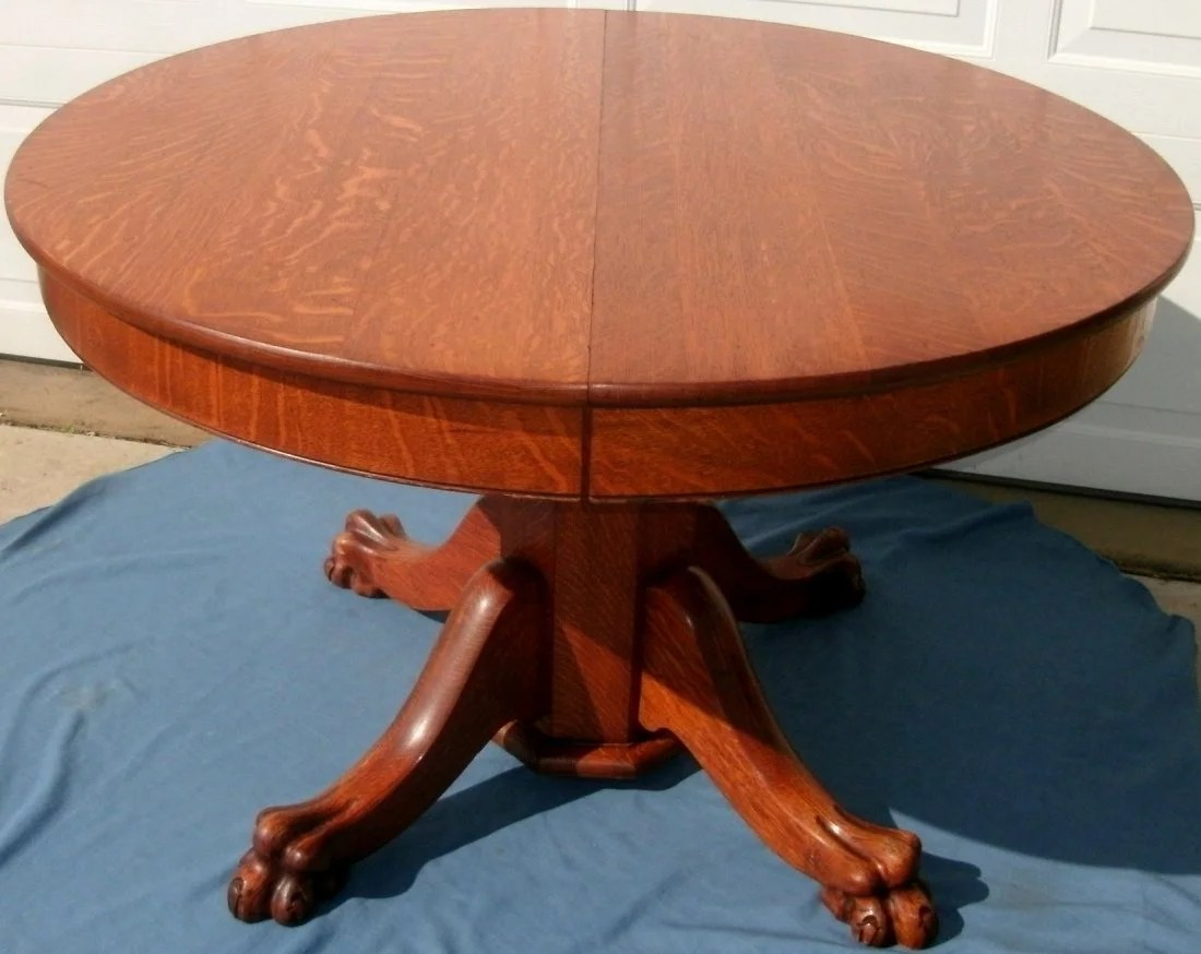 tiger oak dining chairs accent under 100 2 antique round table lion paw feet
