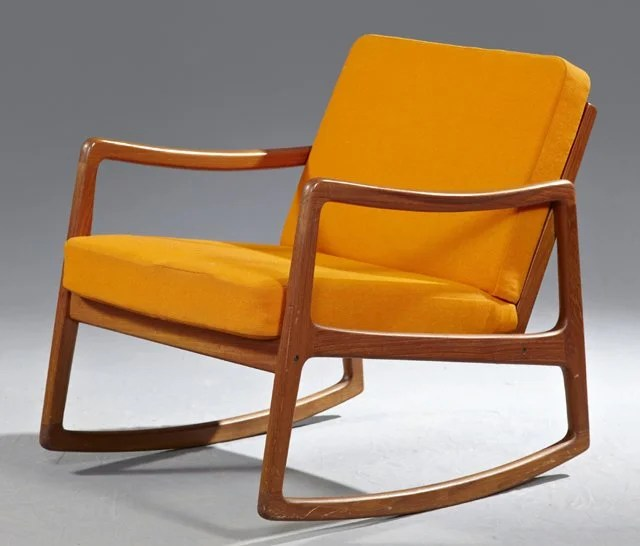 danish modern rocking chair target outdoor folding finn juhl carved teak c 1