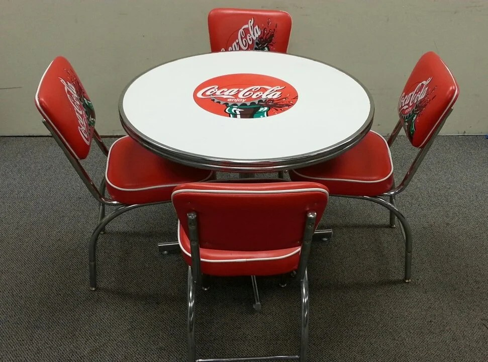 coca cola chairs and tables home goods leather diner set table