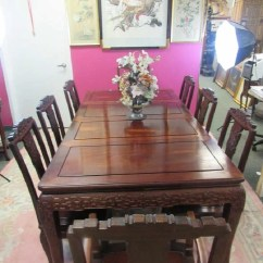 Chinese Rosewood Dining Table And Chairs Stool Box Chair Set With 8