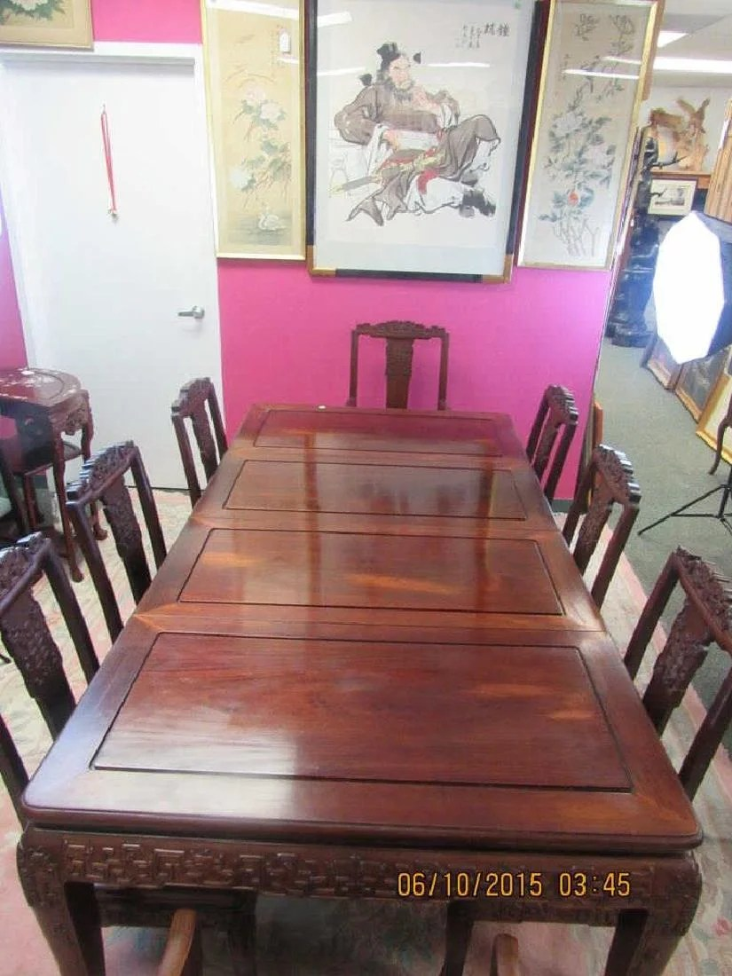 chinese rosewood dining table and chairs chair covers wedding calgary set with 8