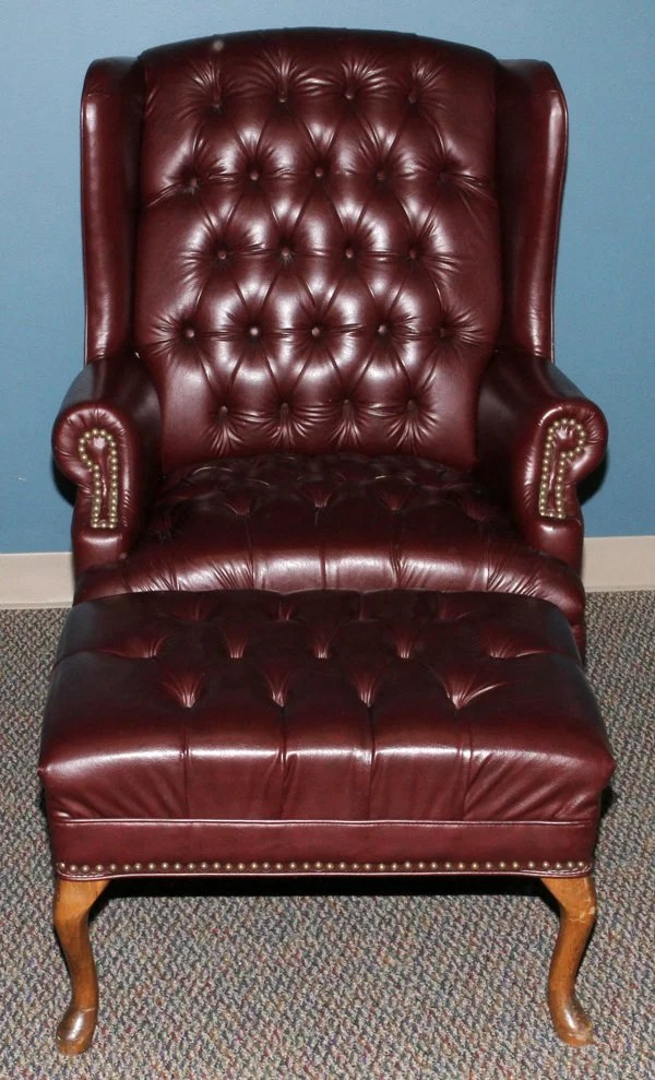 oxblood leather wing chair chico high tufted wingback and ottoman