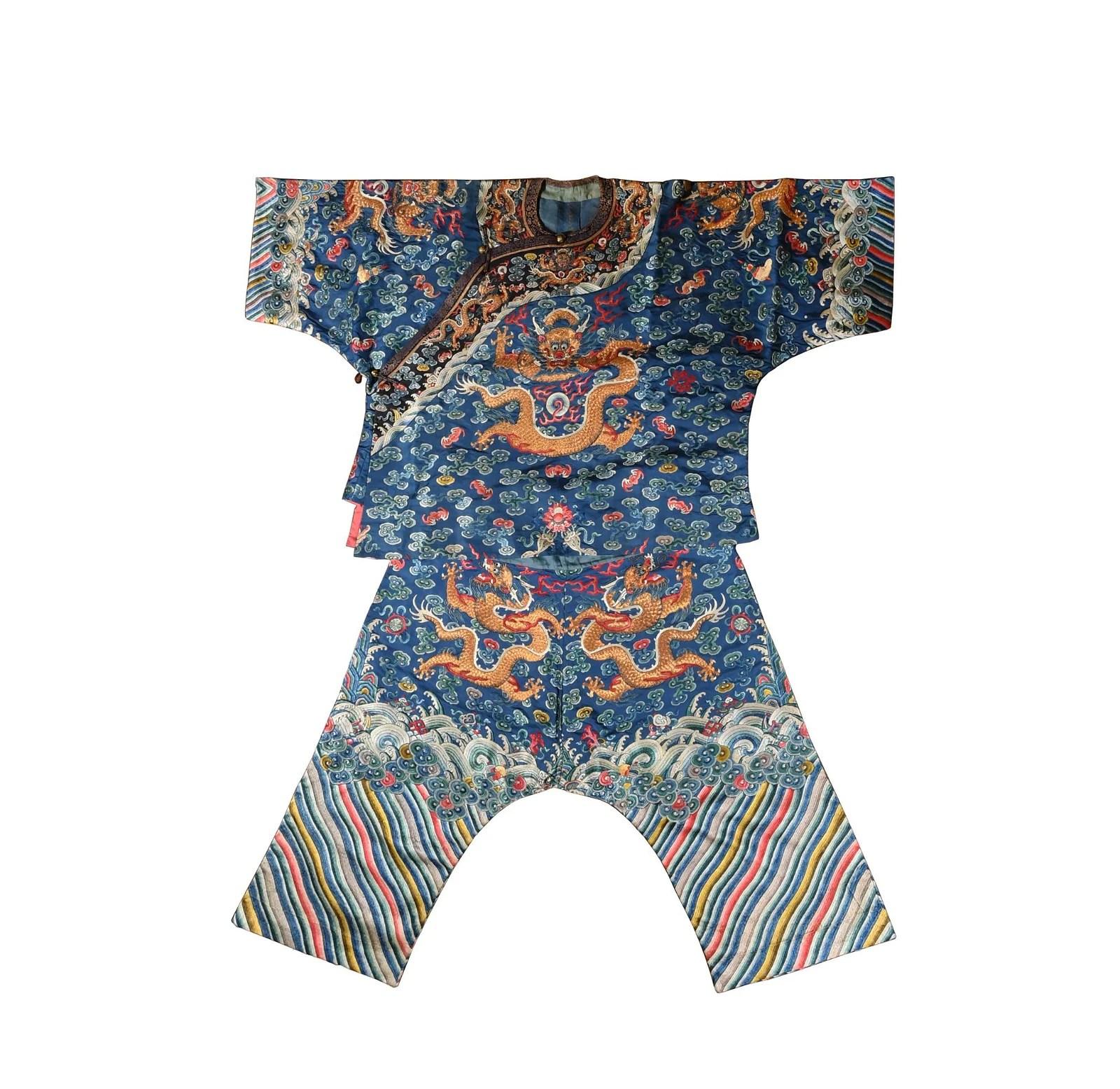 Chinese Blue Ground Dragon Robe, 19th Century