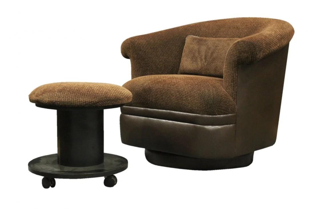tub chair brown leather wedding chairs hire birmingham milo baughman swivel ottoman
