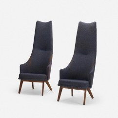 Adrian Pearsall Lounge Chair Rush Seat Chairs Pair