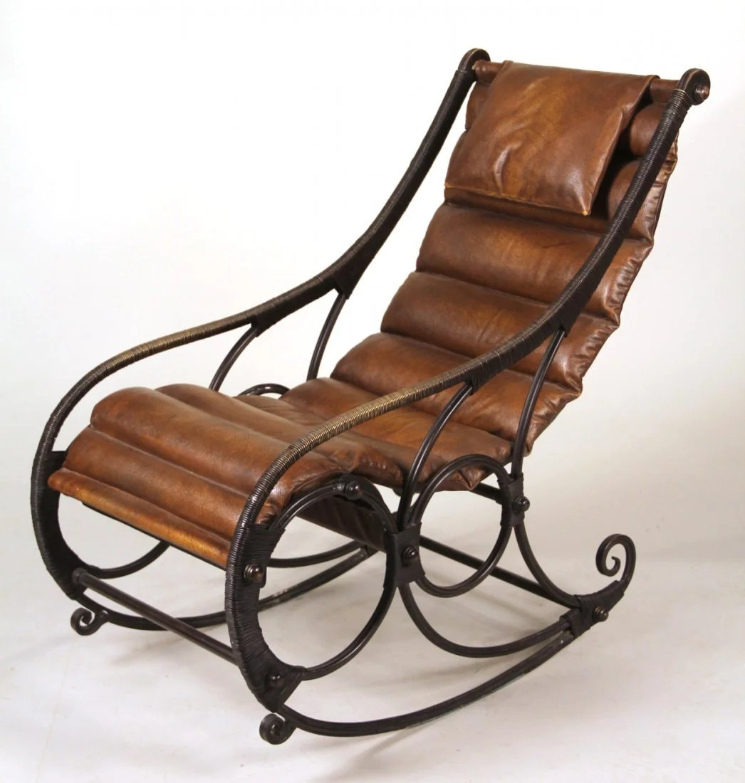 Iron Rocking Chair Iron And Leather Sling Back Rocking Chair