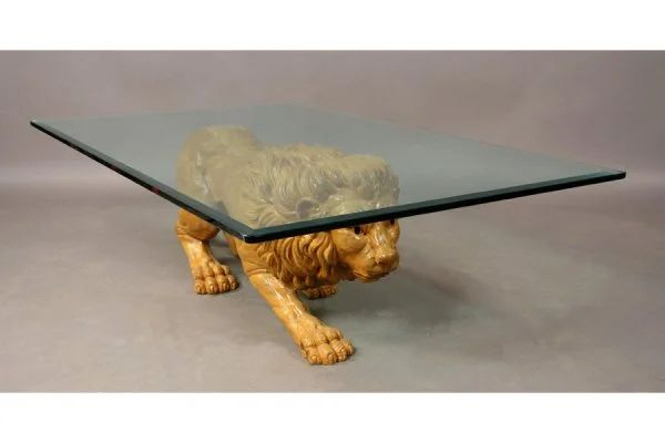 395 carved wood lion coffee table