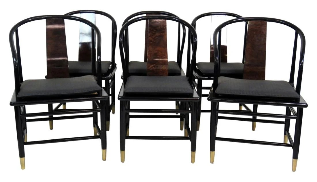 henredon asian dining chairs childs outdoor chair 6 style ebonized caned