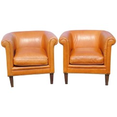 Bernhardt Brown Leather Club Chair Adult Portable Potty Pair Chairs