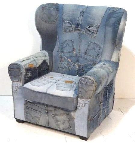 Denim Chair Levi Jeans Denim Upholstered Wing Chair