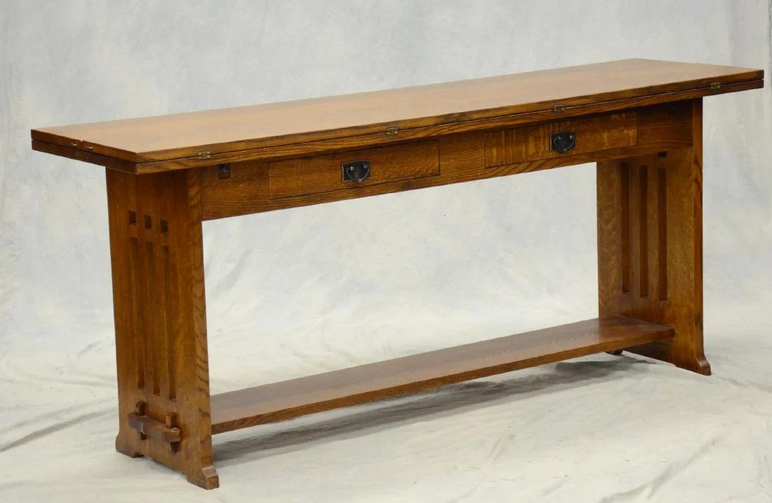 stickley sterling sofa table original company uk arts and crafts style oak console