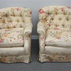 Floral Upholstered Chair Revolving Plate 2 Chairs