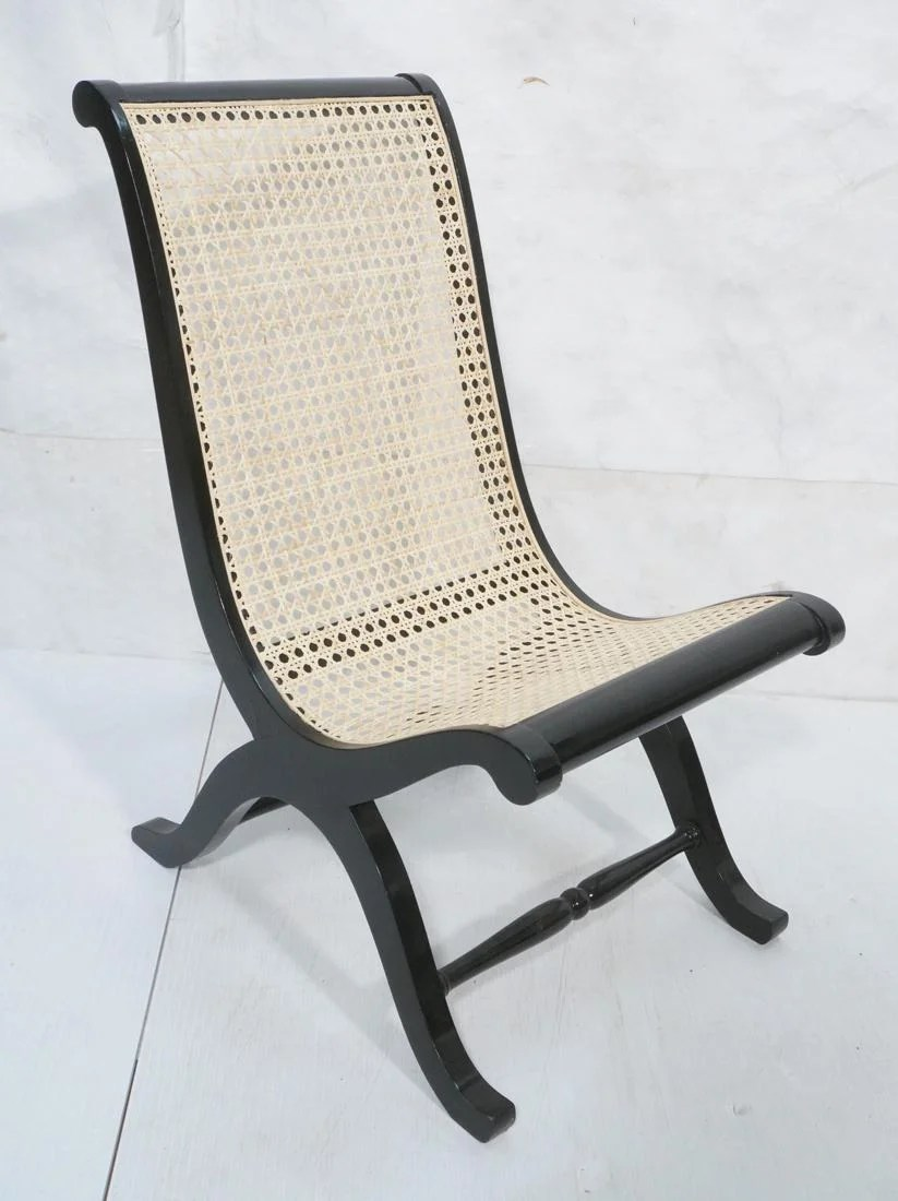 Armless Lounge Chair Ebonized Wood Cane Seat Armless Lounge Chair Dec 12 2017 Uniques Antiques Inc In Pa On Liveauctioneers