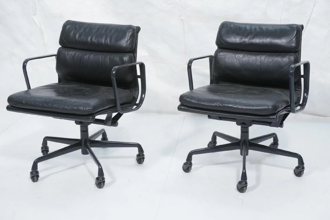 black leather desk chairs baby floor chair pr charles eames soft pad office le