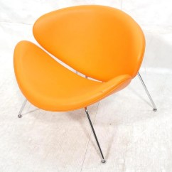Orange Slice Chair Red Rocking Song Newer Chrome Tube Clam Shape