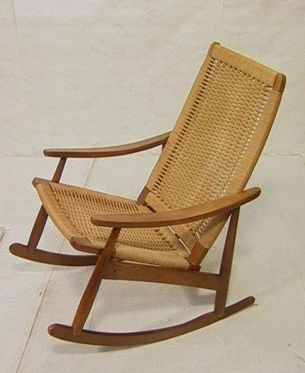 hans wegner rocking chair seat cushion for office 390 style rocker woven sea