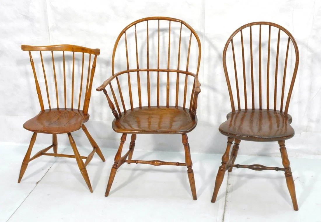 antique windsor chairs linen parsons chair lot 3 pa sack back c 1800