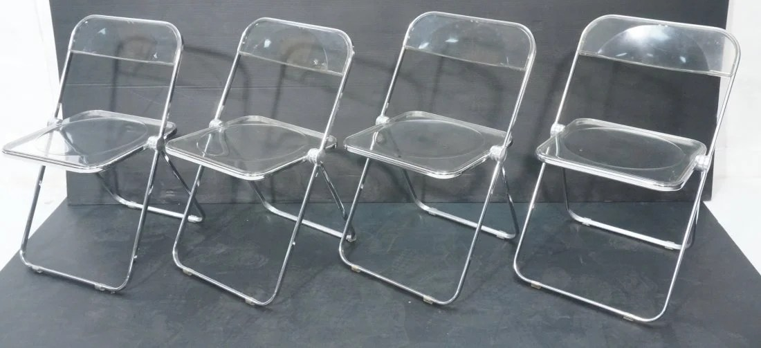 Set 4 CASTELLI Clear Acrylic Folding Chairs Ital