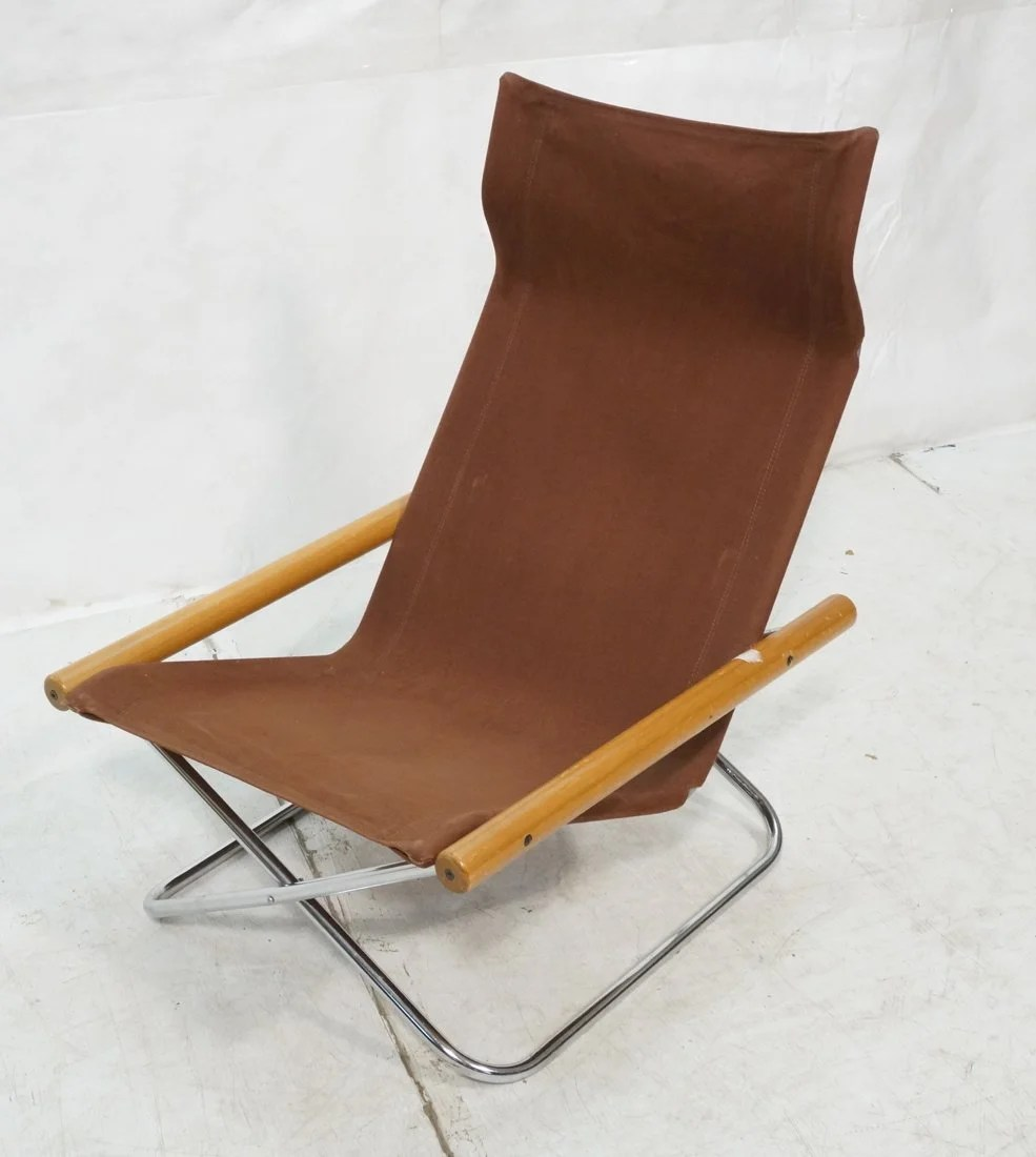 Folding Lounge Chair Uchida Folding Lounge Chair Wood Canvas And Ch On Liveauctioneers